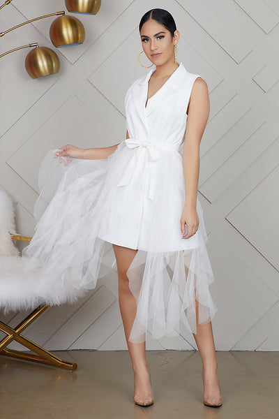 Tulle Blazer Dress (White)