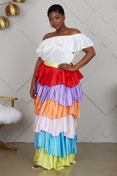 Curvy Multi Color Off The Shoulder Maxi Dress