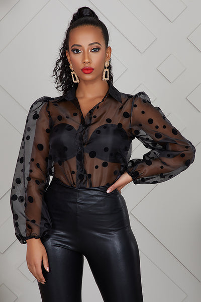 Polka Dot Sheer Top (Black)