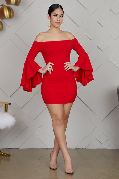 Off The Shoulder Bell Sleeve Dress (Red)