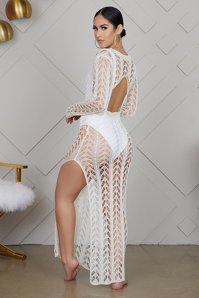 Nothing But Net Swimsuit Cover Up (Off White)- FINAL SALE