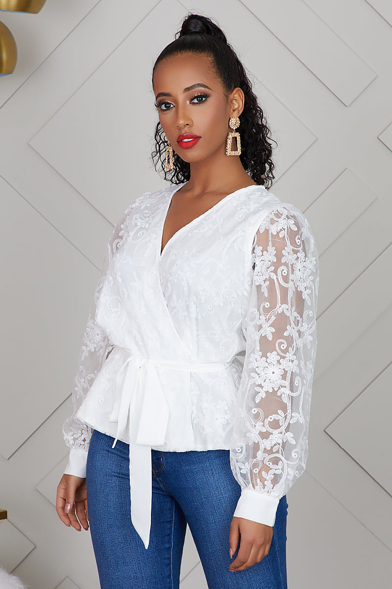 Embroider Lace Top (White)- FINAL SALE