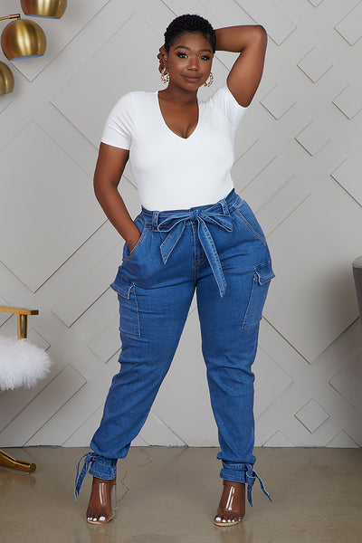 CURVY CARGO DENIM PANTS
