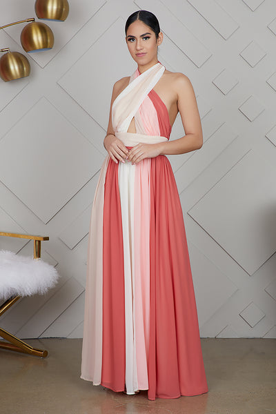 Peach Multi Color Maxi Dress
