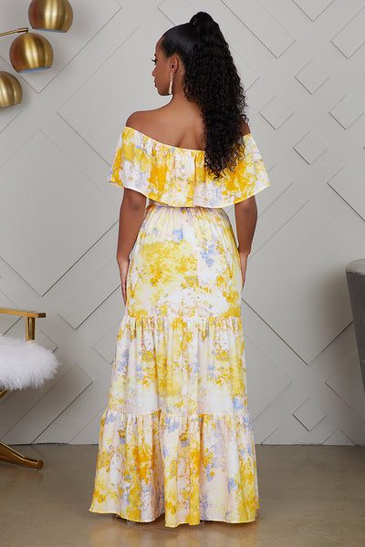 Off  The Shoulder Yellow Printed Dress