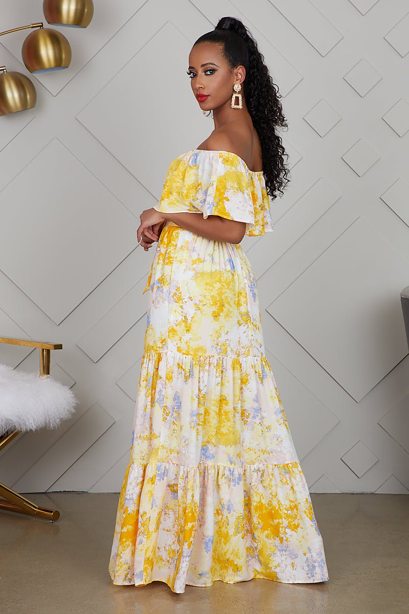 Off  The Shoulder Yellow Printed Dress- FINAL SALE