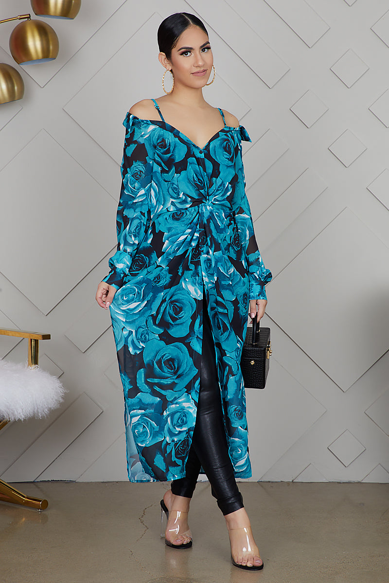Blue Rose Print Shirt Dress- FINAL SALE