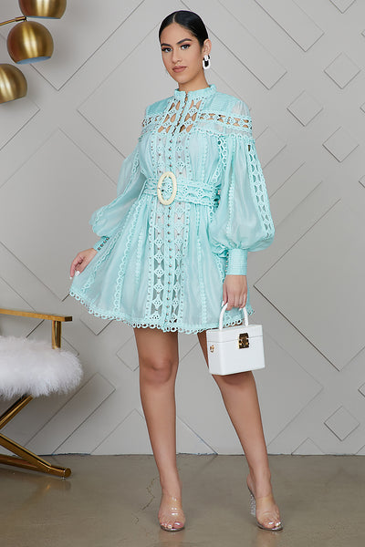 Minty Fresh Embroidery Dress