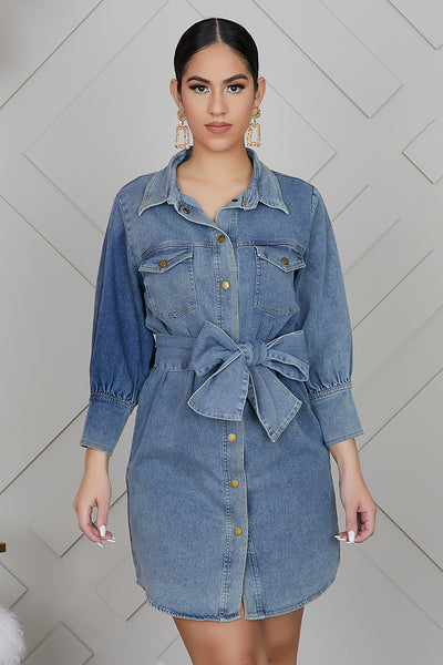 Tie A Bow Denim Dress