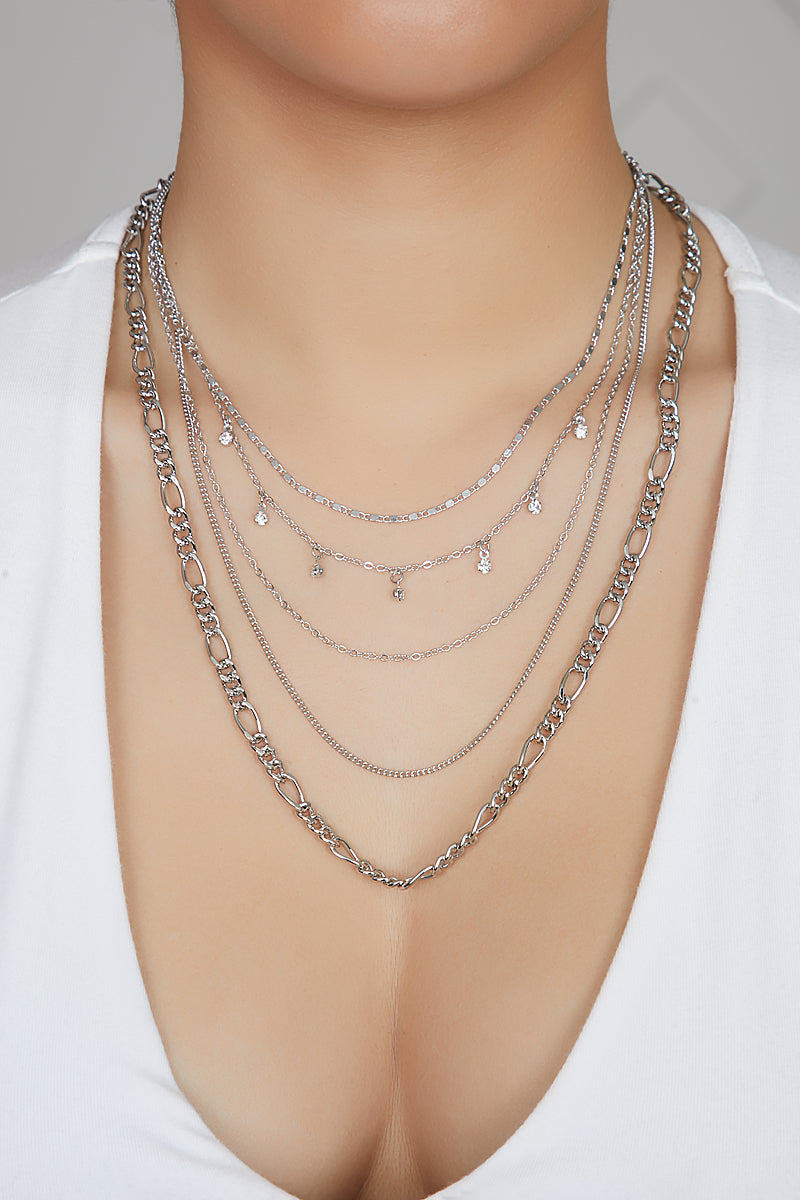 Sliver 5 Chain Layered Necklace