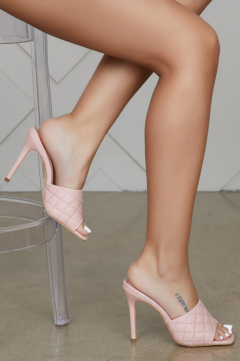 Square Toe Quilted Mule (Blush)- FINAL SALE