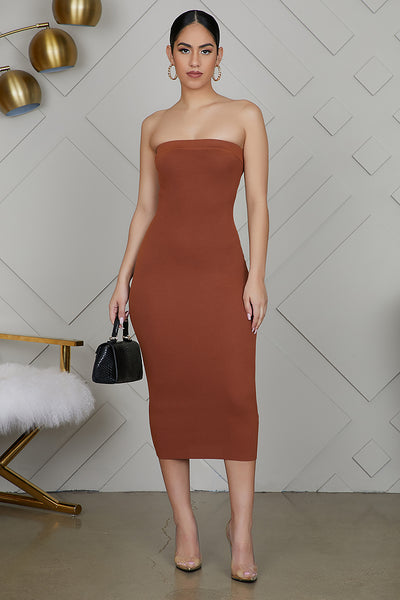 Tube Top Bodycon Dress (Brown)