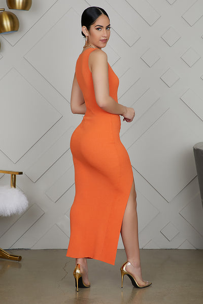 High Slit Ribbed Dress (Orange)