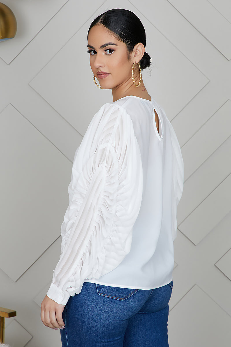 Ruched Dramatic Sleeve Top (White)- FINAL SALE