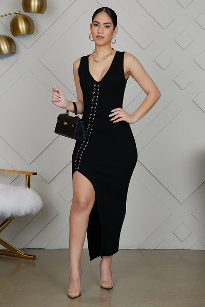 High Slit Ribbed Dress (Black)