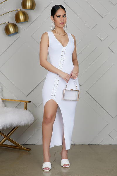 High Slit Ribbed Dress (White)