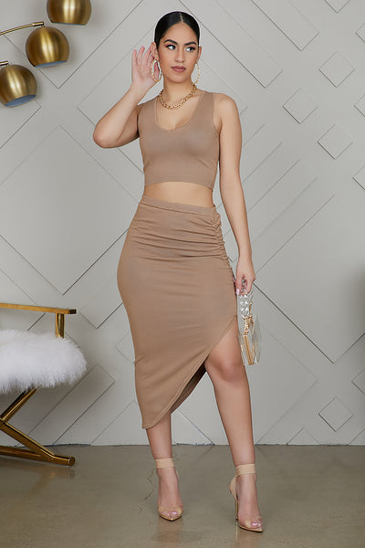 High Slit Ruched Set (Nude)