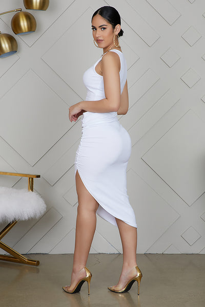 High Slit Ruched Set (White)