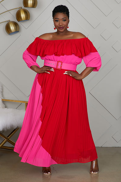 Curvy Color Block Pleated Dress (Pink/Red)