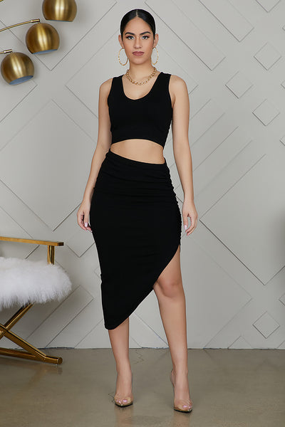 High Slit Ruched Set (Black)