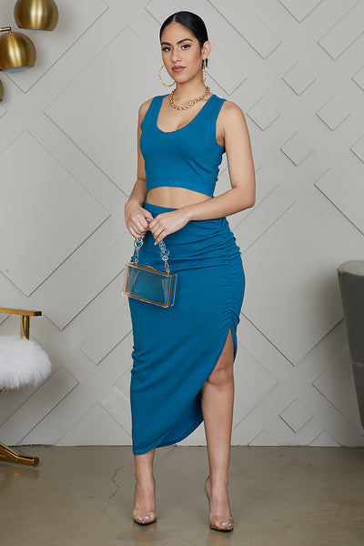 High Slit Ruched Set (Teal)