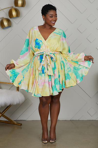 Curvy Tie Dye Baby Doll Dress