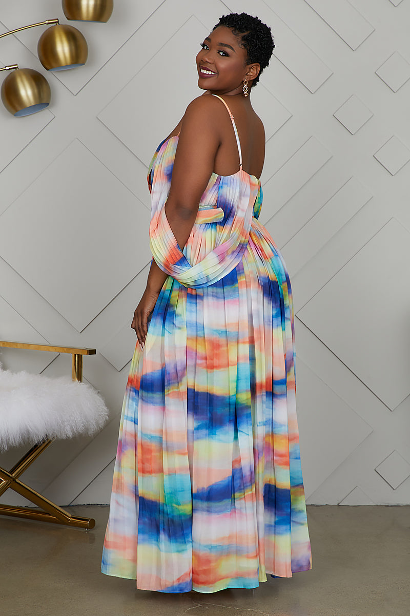 Curvy Sweetheart Watercolor Dress