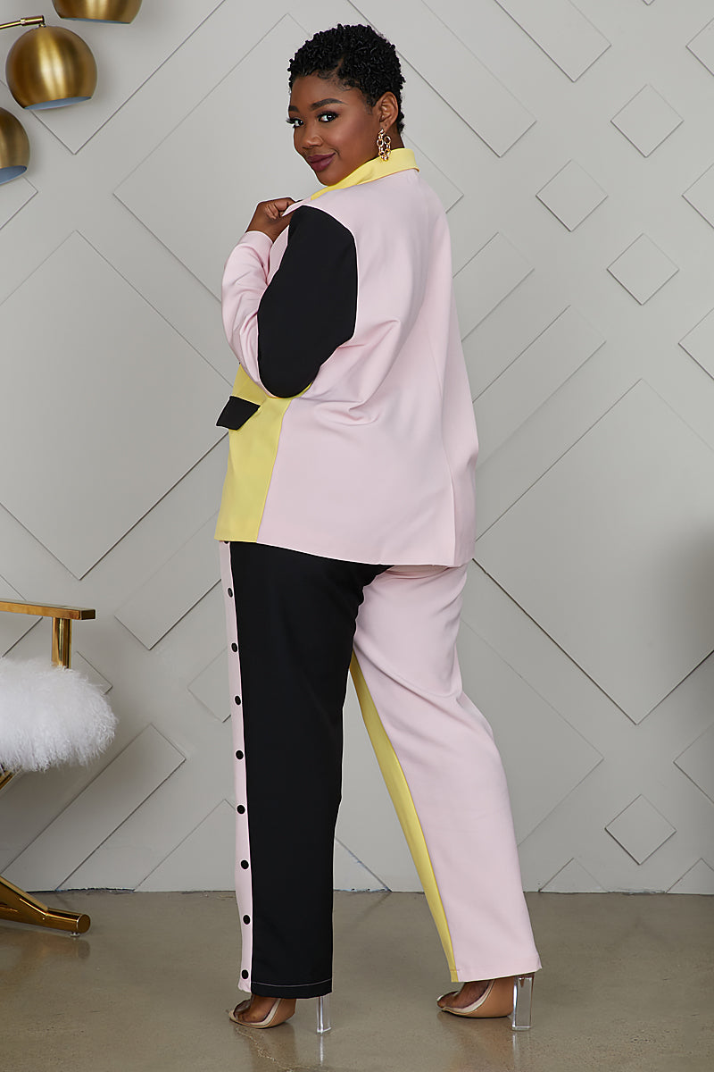 Curvy Color Block Pant Suit