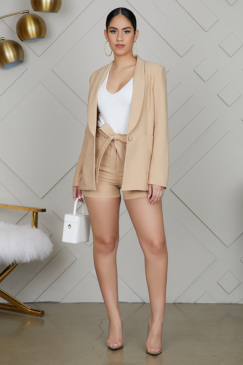 Taupe Short Suit Set