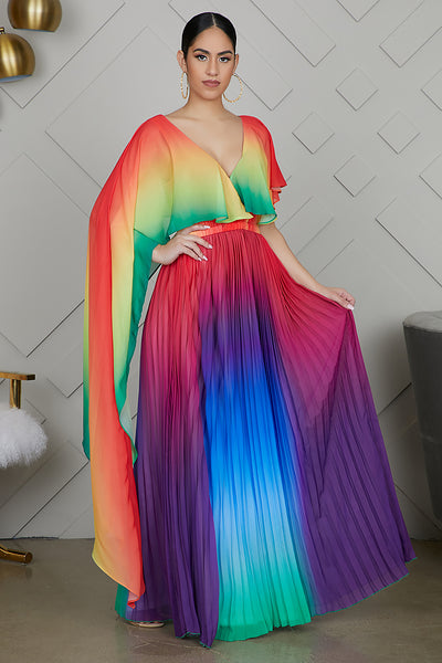 Rainbow Pleated Maxi Dress