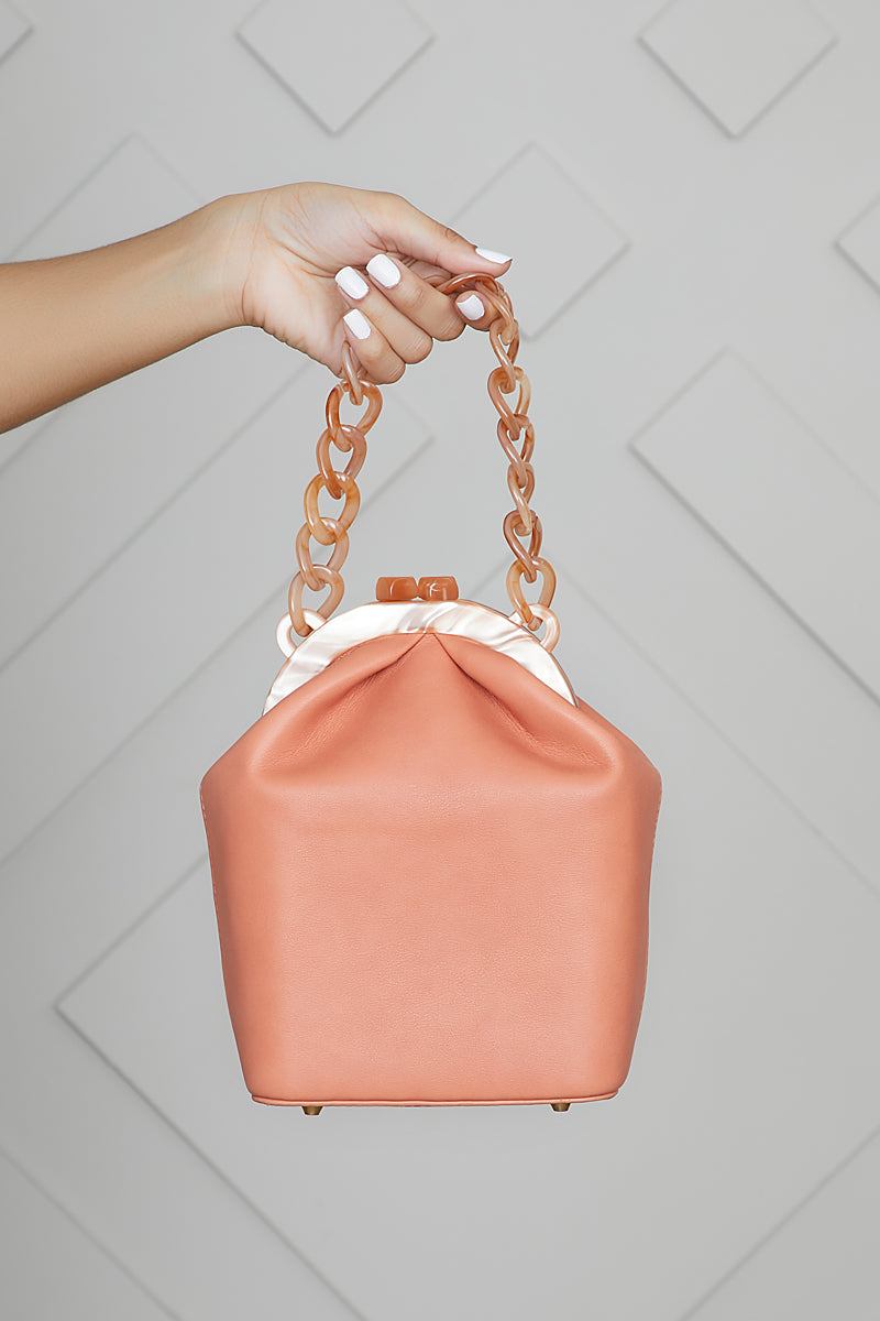 Structured Bucket Bag (Peach)