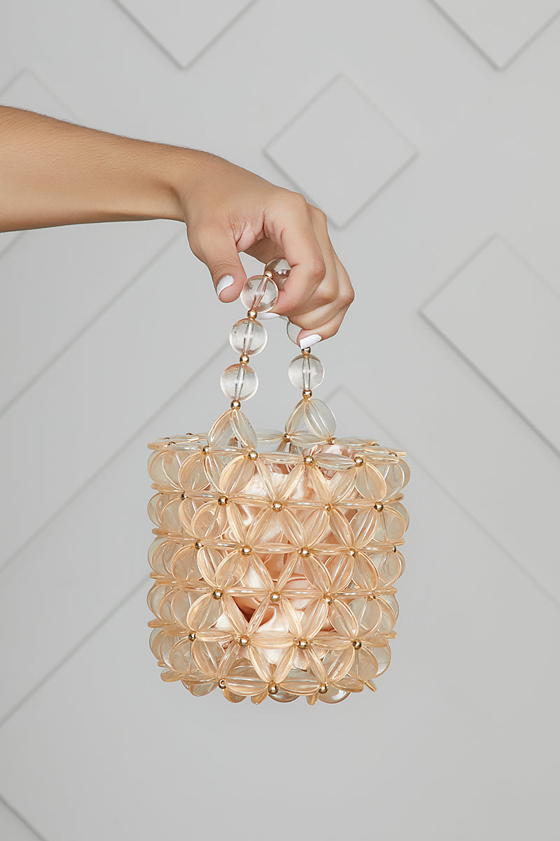 Acrylic Beaded Bucket Bag (Champagne)