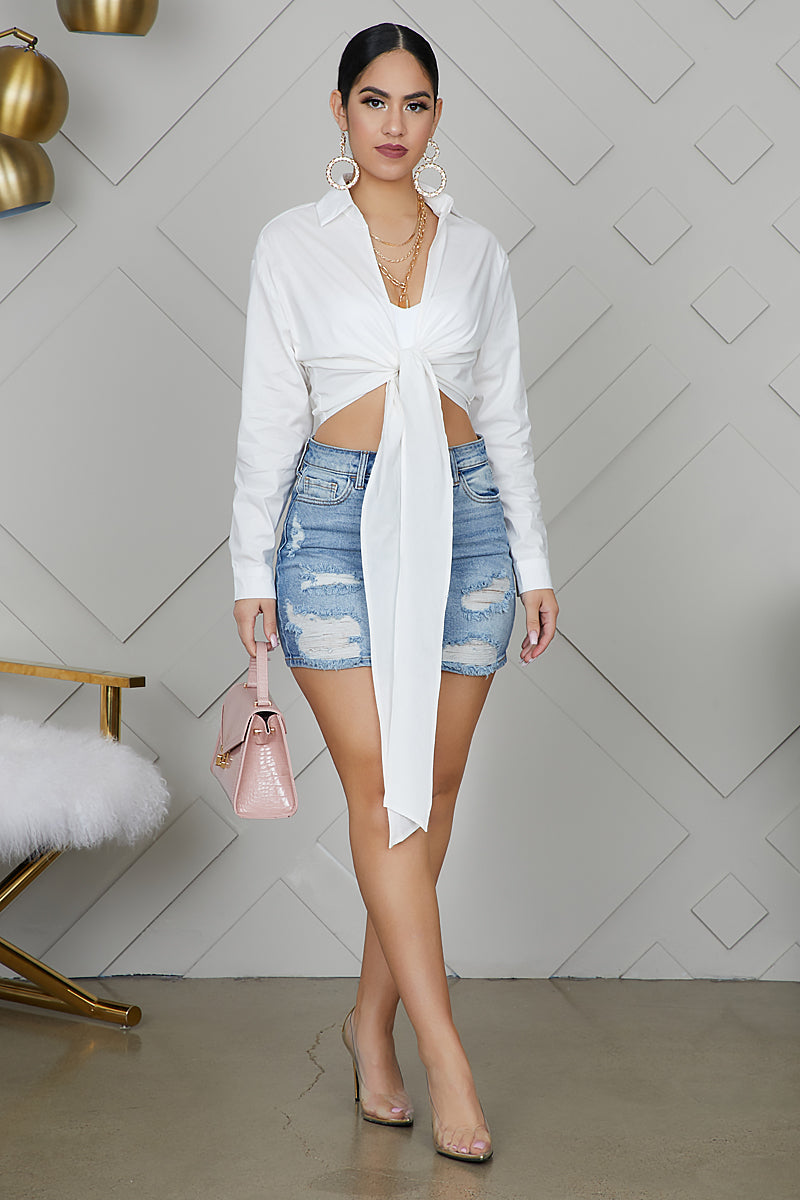 All Tied Up Collar Shirt (White)
