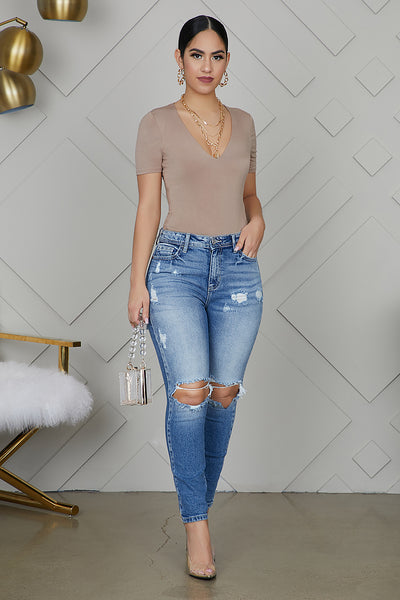 High Waist Distressed Out Skinny Jeans