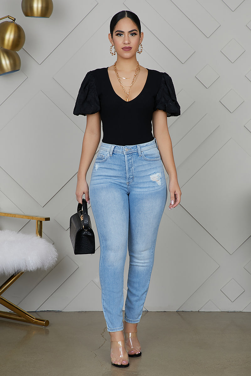 Straight Leg Light Wash Jeans