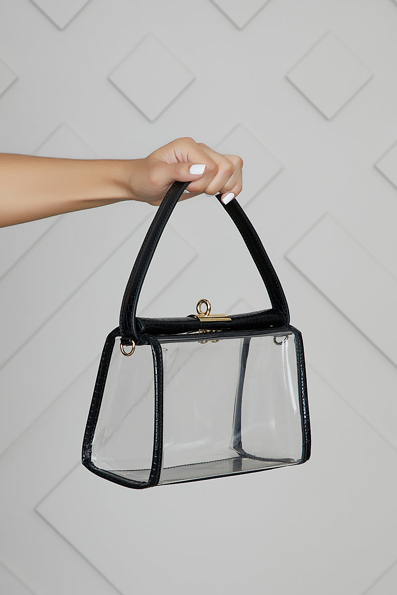 PVC Top Handle Bag (Black)