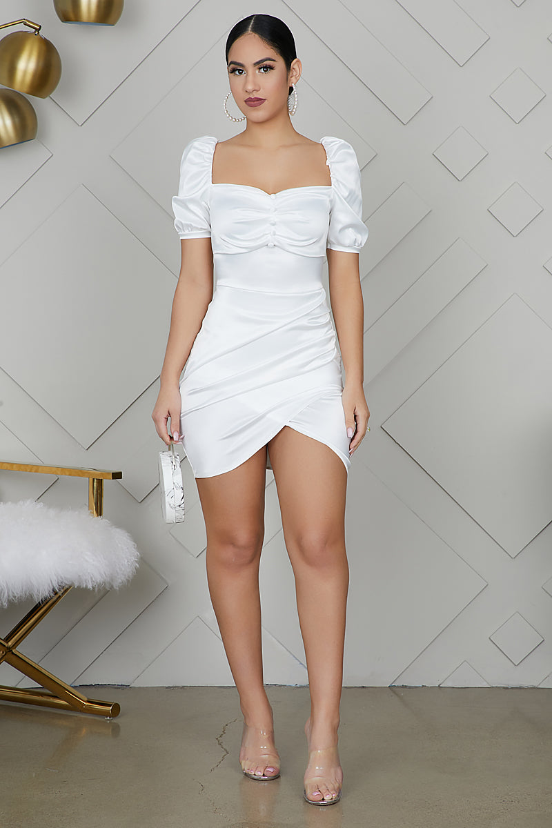 Puff Sleeve Satin Dress (White)- FINAL SALE