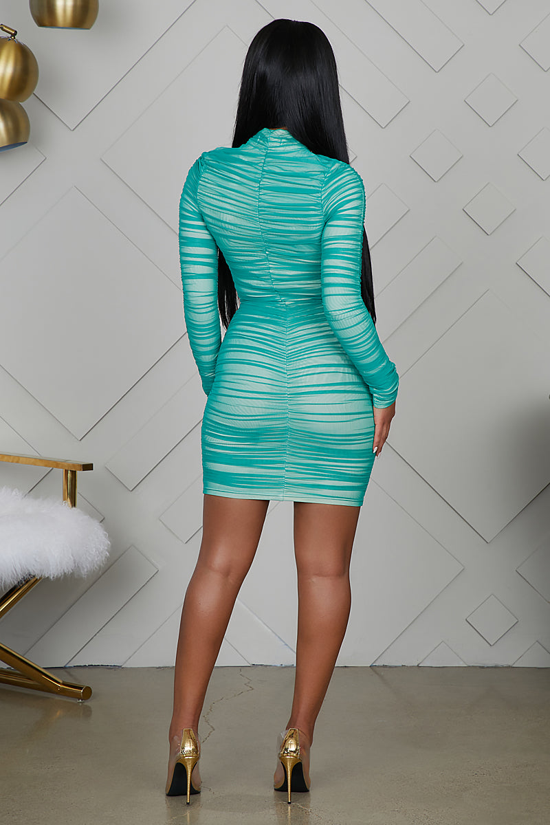 Sweetheart Ruched Dress (Mint)- FINAL SALE