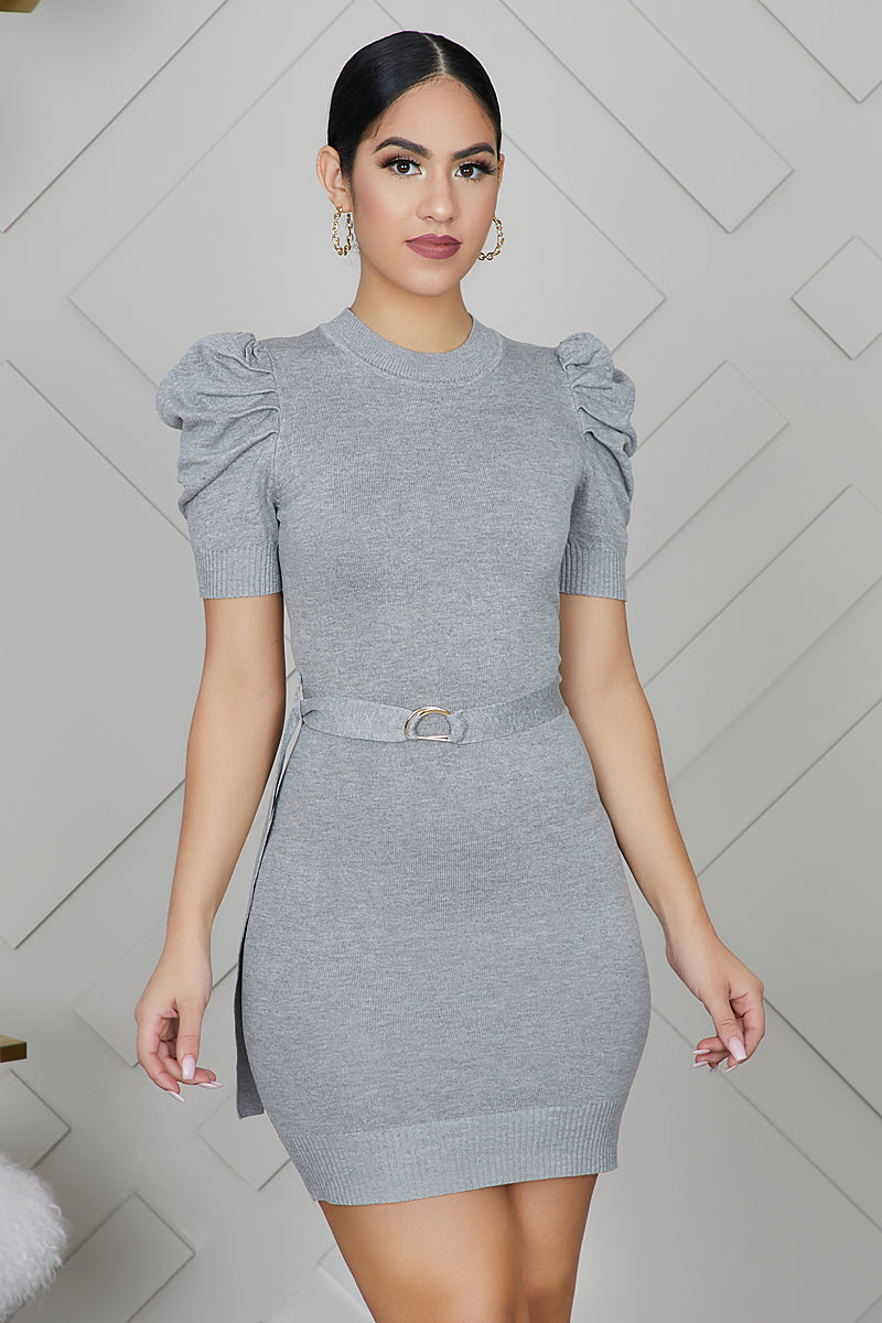 Knit Puff Sleeve Mini Dress (Grey)- FINAL SALE