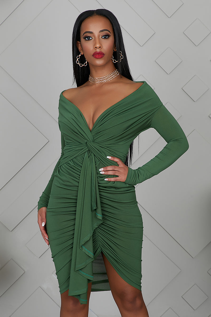 Date Night Ruched Dress (Green)