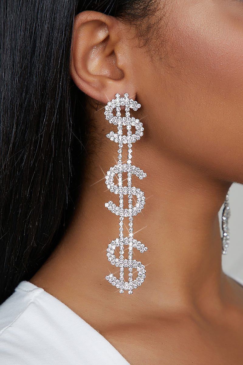 Money Sign Rhinestone Earrings