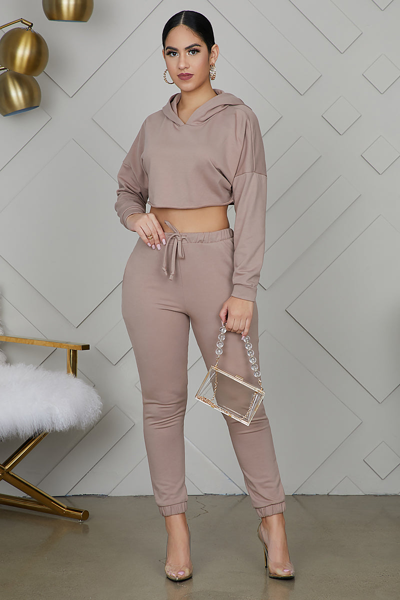 Crop It Sweatsuit (Taupe)