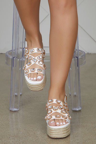 Jewel Espadrilles Sandals (White)