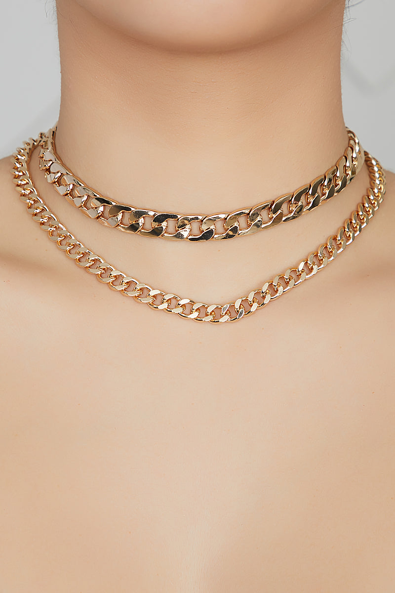 Double Chain Cuban Link Necklace