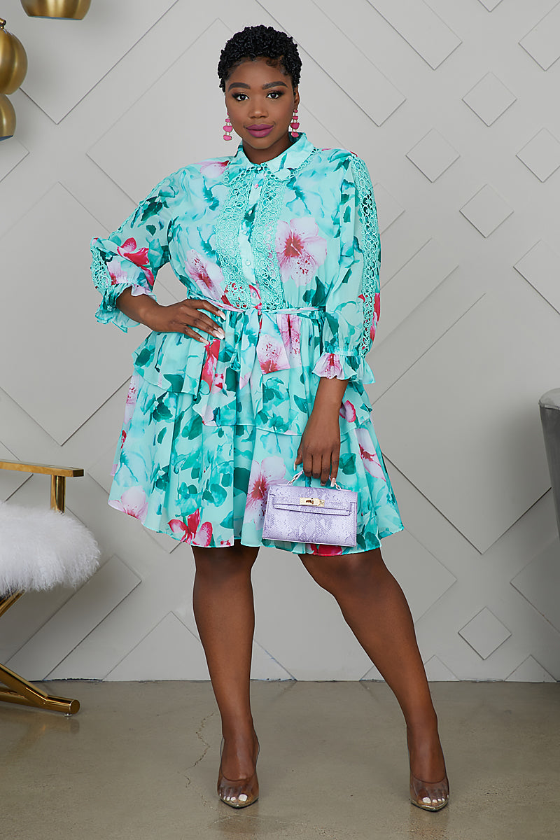 Curvy Spring Florals Dress (Teal)
