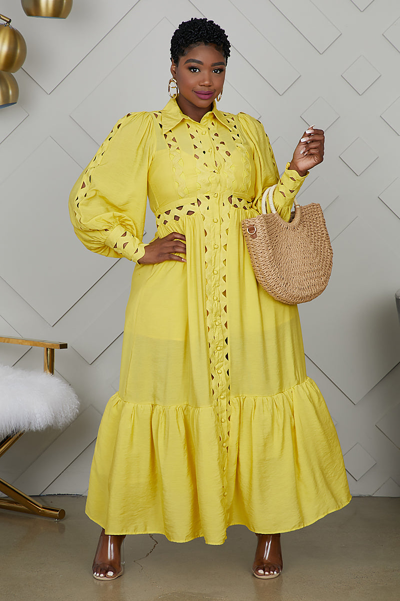 Curvy Cut Out Smocked Dress (Yellow)
