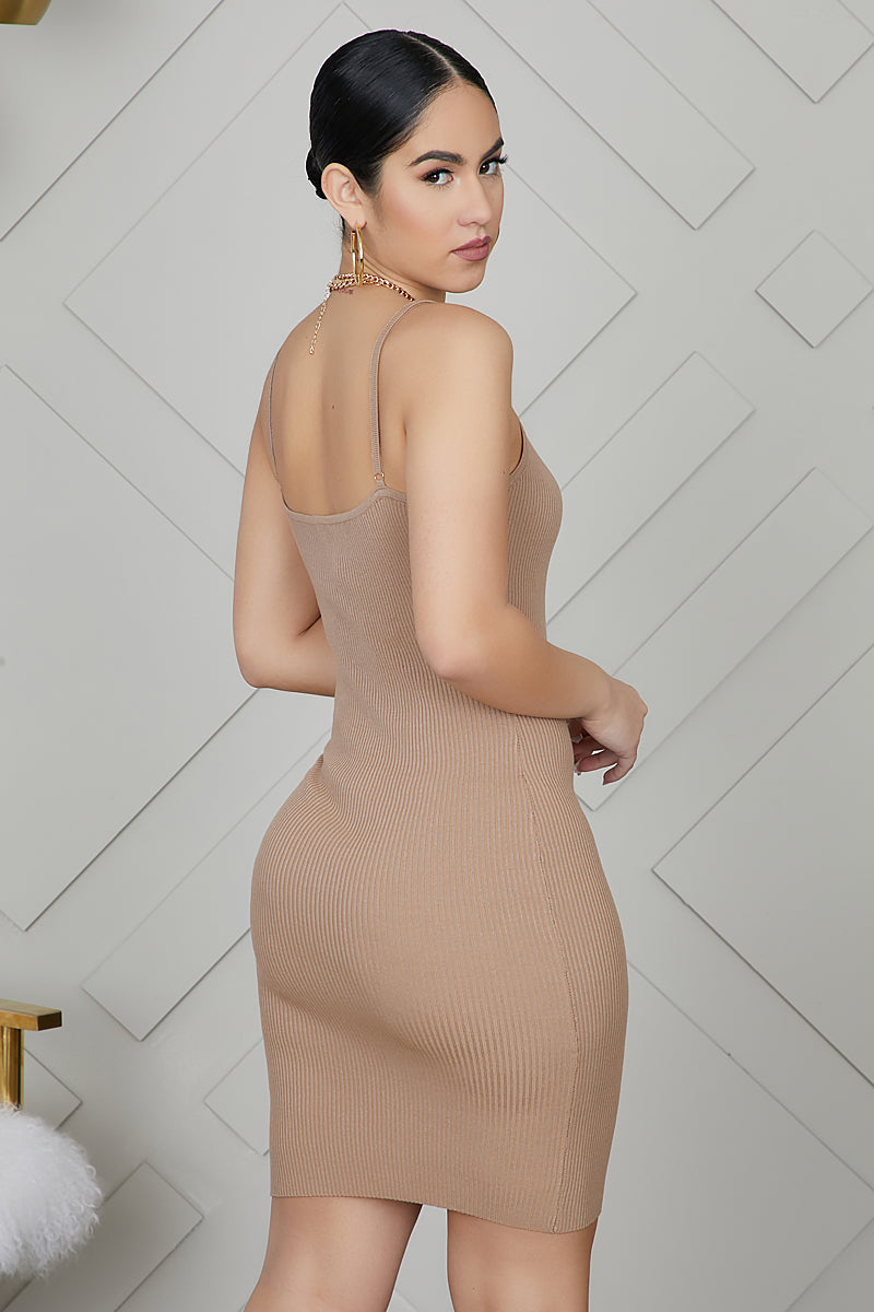 Ribbed Strap Dress (Taupe)