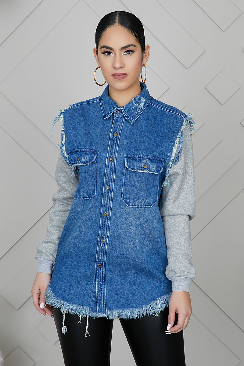 Denim Fleece Sleeves Jacket