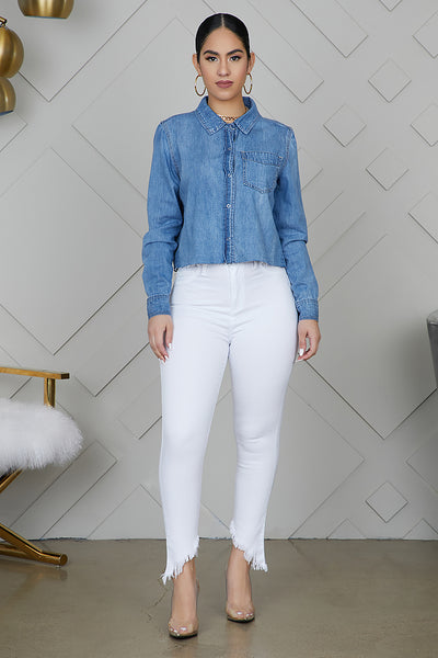 White Skinny Frayed Jeans- FINAL SALE