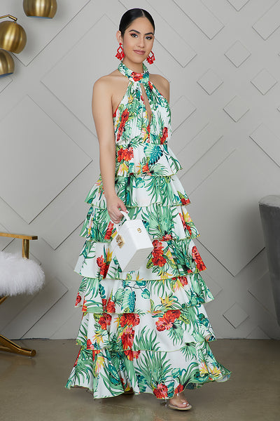 Tropical Ruffle Maxi Dress- FINAL SALE